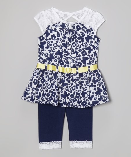 Royal Blue Butterfly Lace Tunic & Leggings - Infant