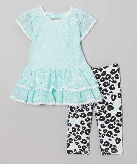 Mint Lace Tiered Tunic & Leopard Leggings - Infant