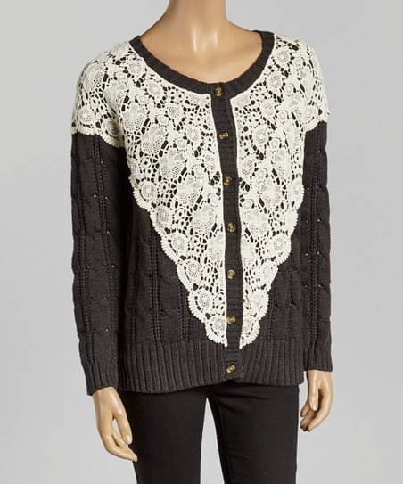 Gray & Ivory Lace Cable-Knit Cardigan - Women