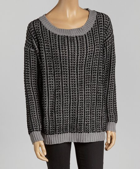 Black & Gray Knit Sweater - Women