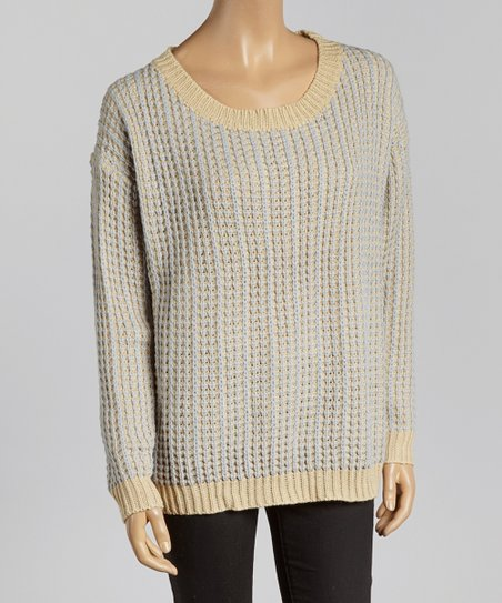 Light Blue & Cream Knit Sweater - Women