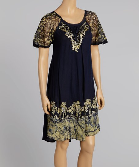 Navy & Yellow Embroidered Dress