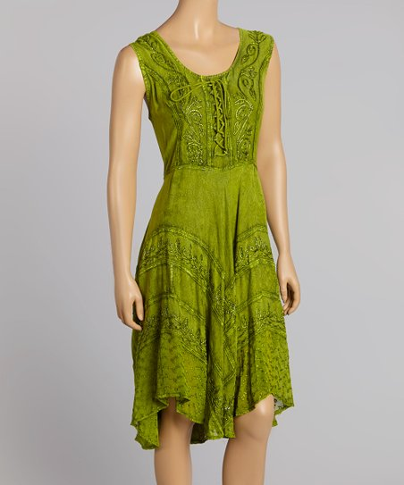 Green Sleeveless Embroidered Dress