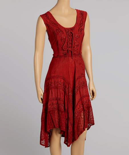 Red Sleeveless Embroidered Dress
