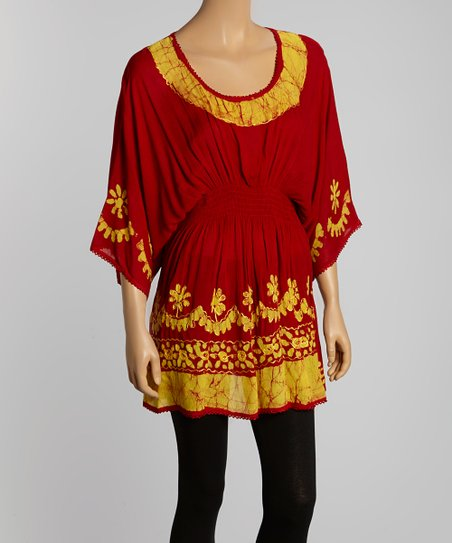 Rust & Gold Cape-Sleeve Tunic