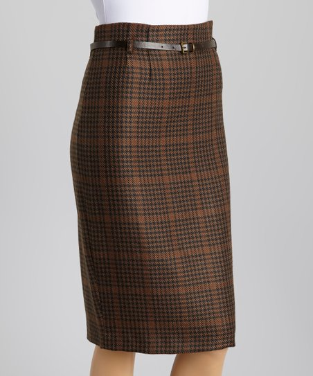 Brown & Navy Houndstooth Wool-Blend Belted Skirt - Women