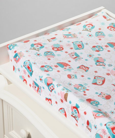 Coral Owl Minky Changing Pad Cover