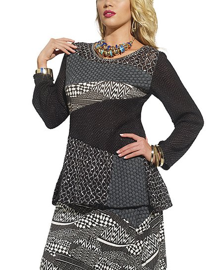 Black & White Mixed Media Tunic - Women & Plus