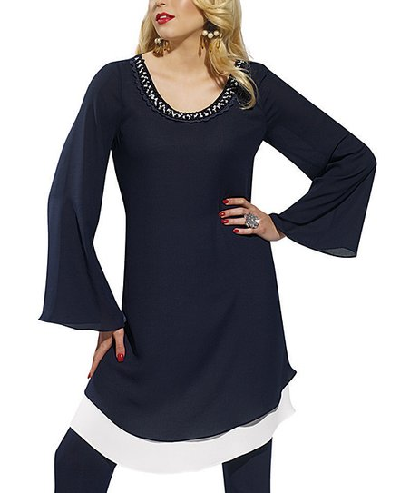 Navy & White Bell-Sleeve Tunic - Women & Plus