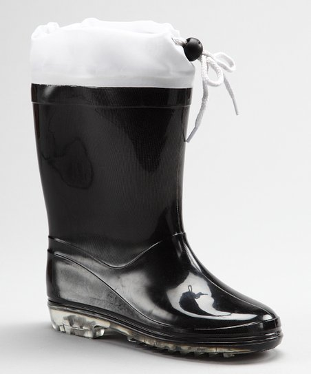 Black &amp; White Cookie Rain Boot - Kids