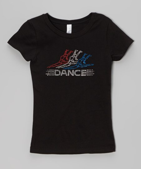 Black & Blue 'Dance' Rhinestone Tee – Girls