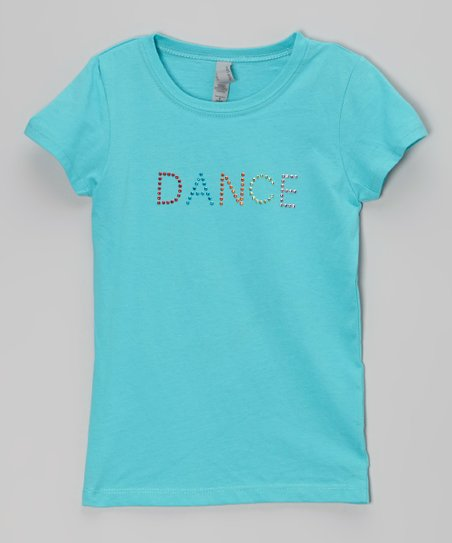 Blue 'Dance' Rhinestone Tee – Girls
