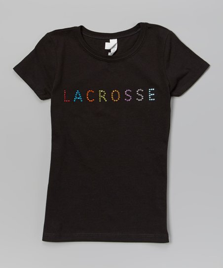 Black Rhinestone 'Lacrosse' Tee – Girls