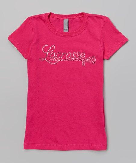 Raspberry & Pink Rhinestone 'Lacrosse' Tee – Girls
