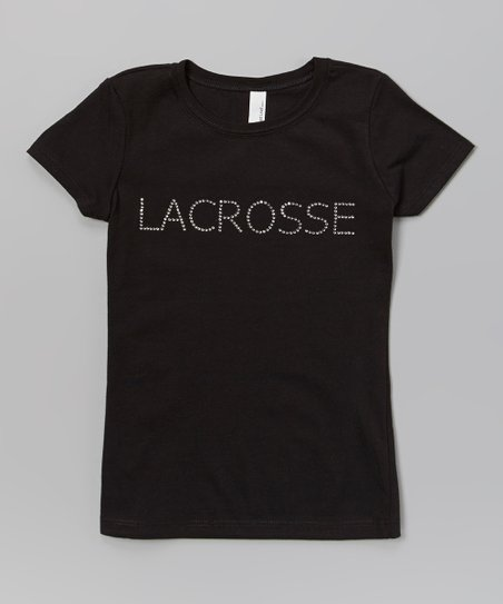 Black & White Rhinestone 'Lacrosse' Tee – Girls