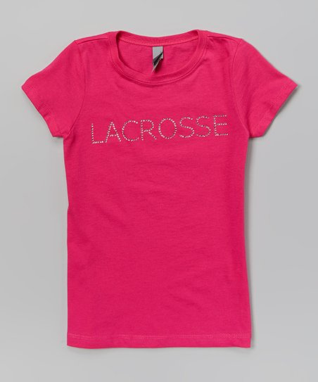 Raspberry & White Rhinestone 'Lacrosse' Tee – Girls