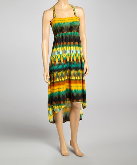 Green & Mustard Smocked Racerback Hi-Low Dress