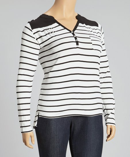 White & Black Stripe Top – Plus