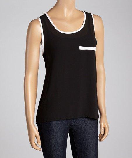 Black & White Faux Pocket Sleeveless Top