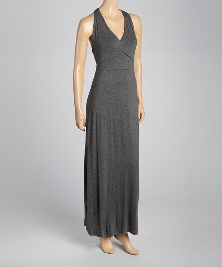 Charcoal Surplice Maxi Dress