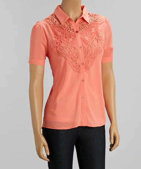 Coral Crochet Lace Button-Up Top