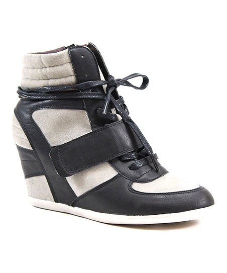 Black & Taupe Aero Space Hi-Top Sneaker Wedge