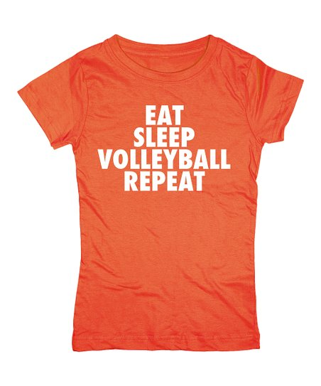 Orange 'Eat Sleep Volleyball Repeat' Tee – Girls