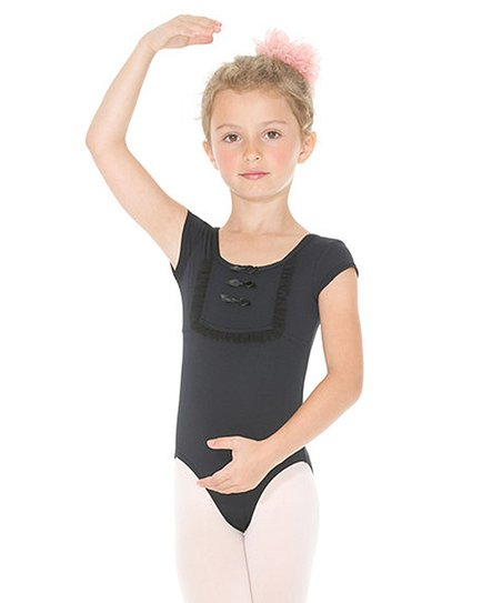 Black Ruffle Bib Leotard - Toddler & Girls