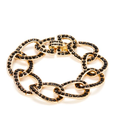 Gold & Black Rhinestone Link Bracelet