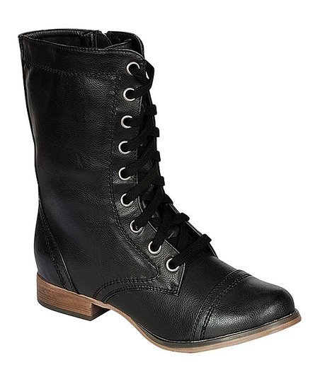 Black Georgia Lace-Up Boot