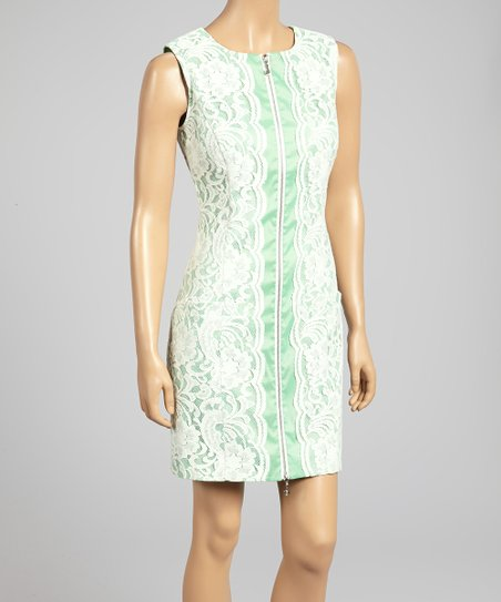 Pistachio & Cream Lace Zip-Up Shift Dress