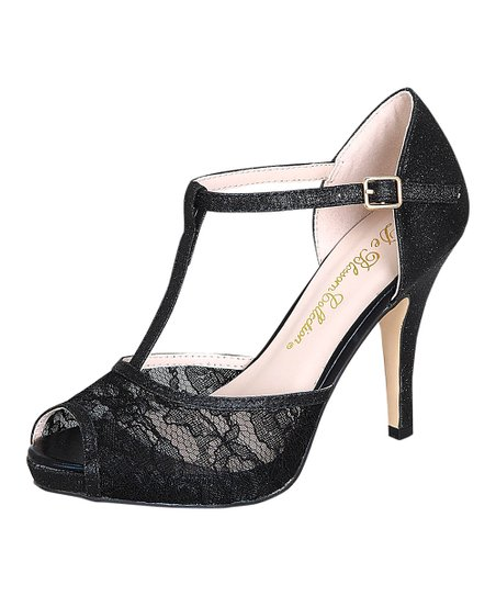 Black Lace Carrey T-Strap Pump