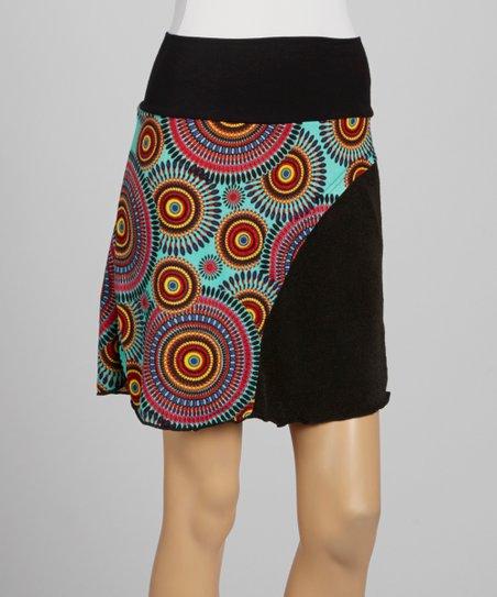 Teal & Black Abstract Kali Skirt