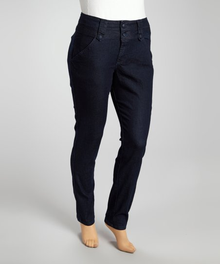 Black Denim Double Button Skinny Jeans - Plus