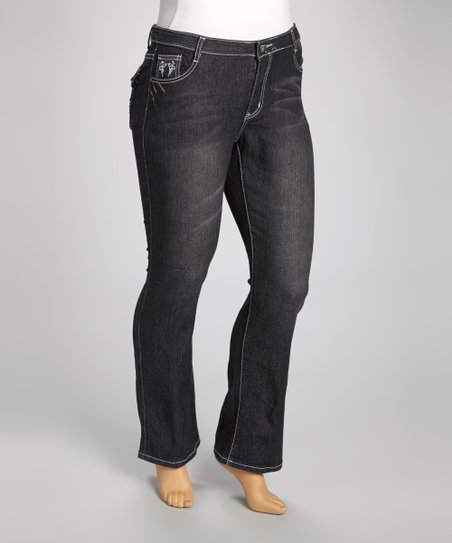 Dark Blue Contrast-Stitch Denim Flare Jeans - Plus