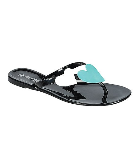 Black Jelly Heart Sandal
