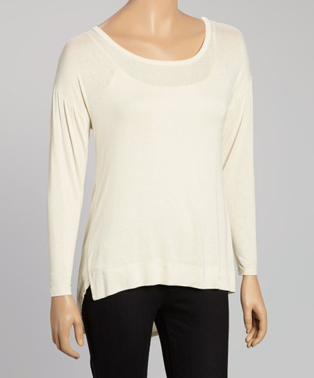 Ivory Hi-Low Scoop Neck Top - Women