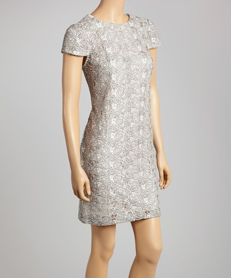 Silver Floral Lace Overlay Shift Dress