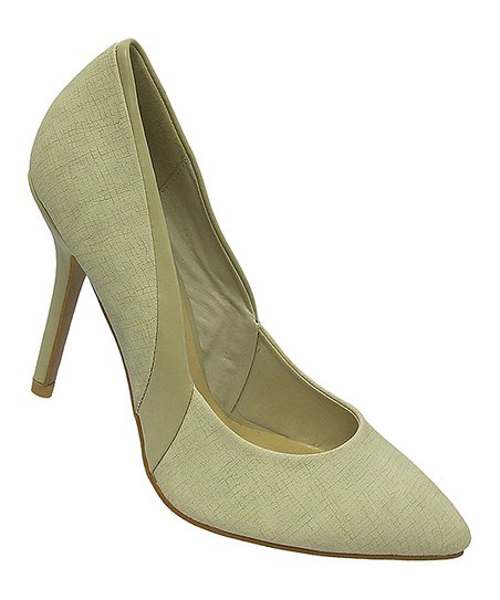Beige Faux Leather Trim Pump