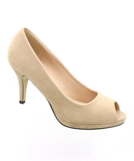 Nude Peep-Toe Pump