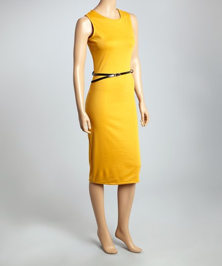 Mustard Belted Sleeveless Sheath Dress