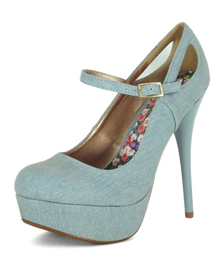 Light Blue Denim Mary Jane Platform Pump