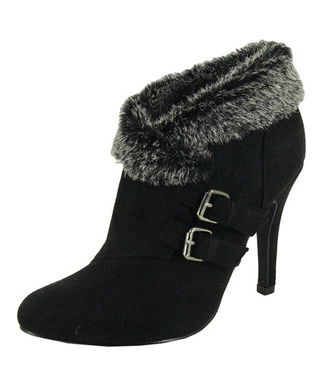 Black Faux Fur-Lined Buckle Bootie
