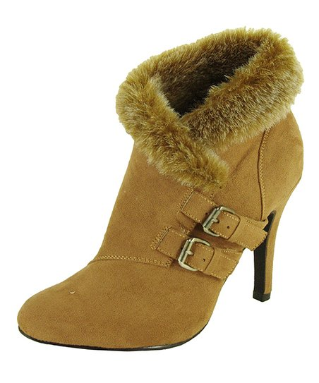 Camel Faux Fur-Lined Buckle Bootie