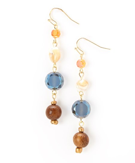 Gold & Blue Linear Drop Earrings
