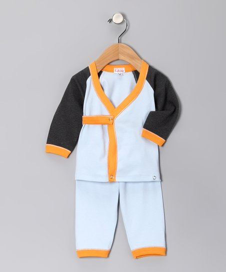 Light Blue & Orange Wrap Top Set - Infant