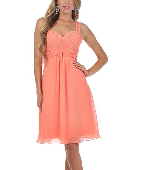 Peach Pleated Chiffon A-Line Dress