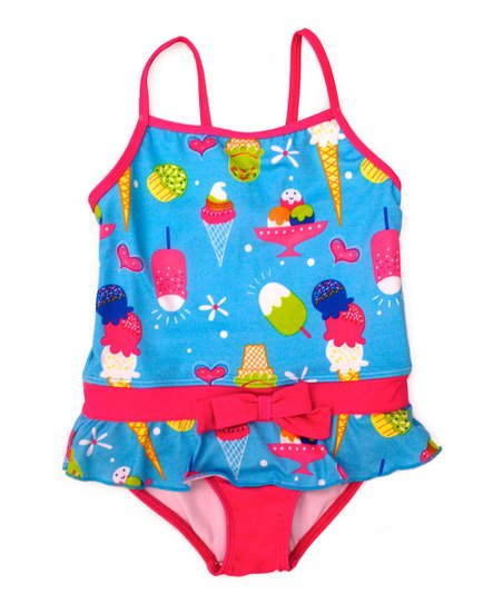 Turquoise Ice Cream Skirted One-Piece - Infant & Toddler