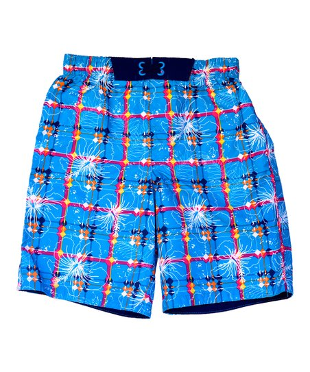 Blue Grid Swim Trunks - Boys