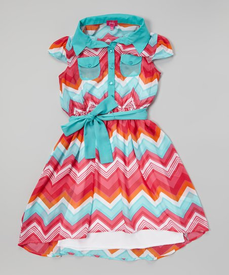 Pink & Green Zigzag Shirt Dress - Girls